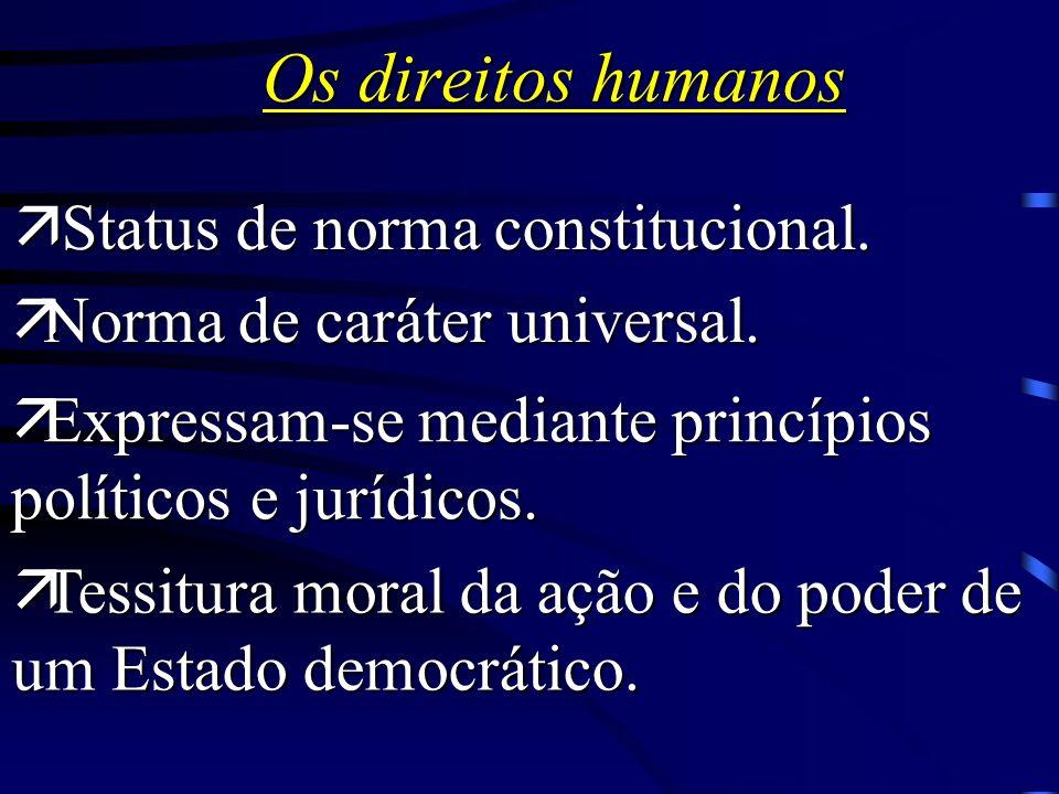 Os direitos humanos Status de norma constitucional.