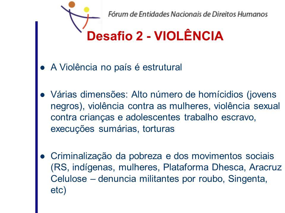 Desafio 2 - VIOLÊNCIA A Violência no país é estrutural