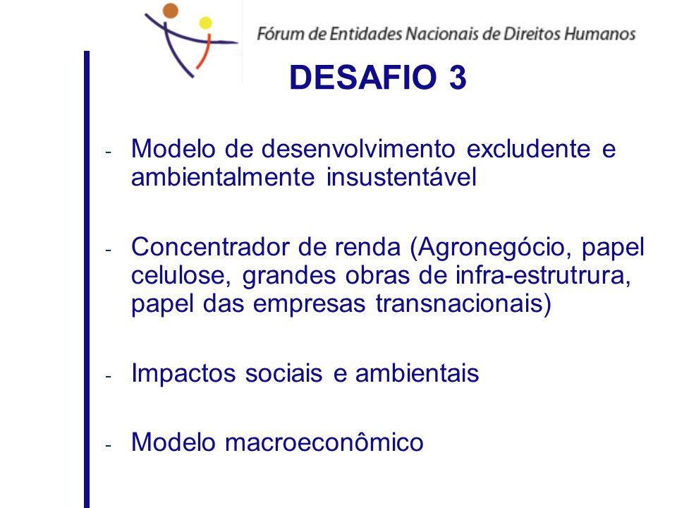 DESAFIO 3Modelo de desenvolvimento excludente e ambientalmente insustentável.