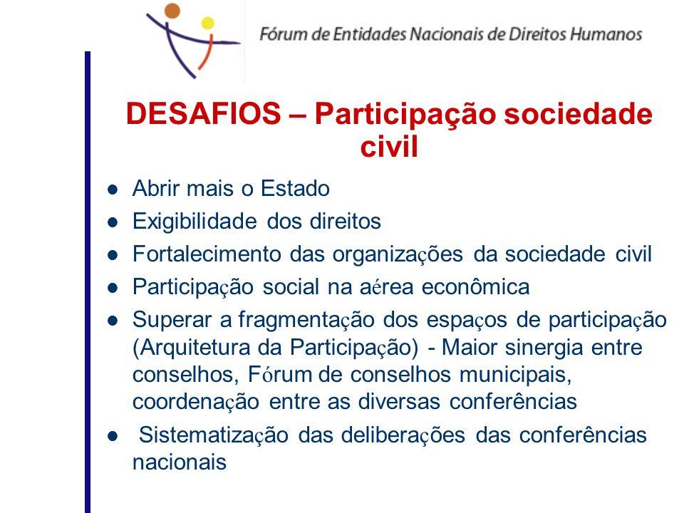 DESAFIOS – Participação sociedade civil