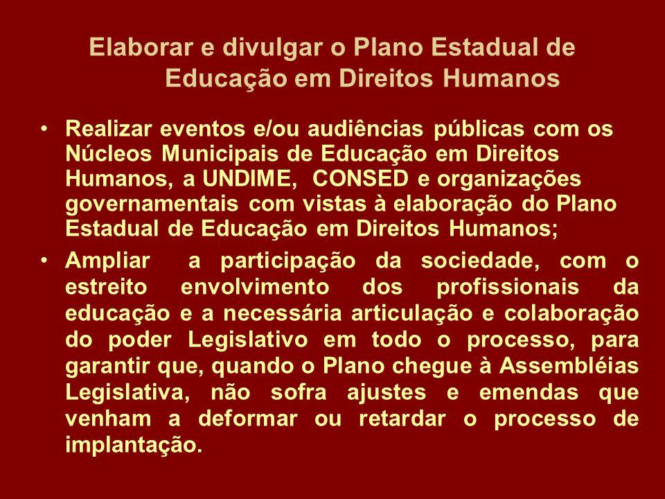 Elaborar e divulgar o Plano Estadual de Educação em Direitos Humanos