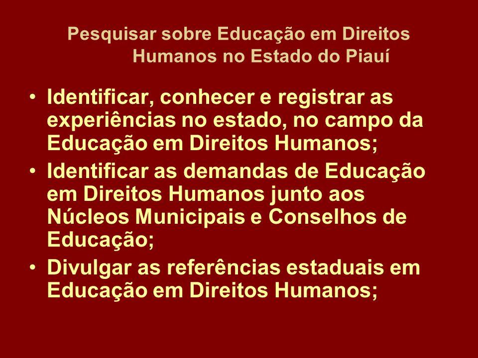 Pesquisar sobre Educação em Direitos Humanos no Estado do Piauí