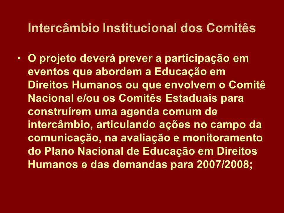 Intercâmbio Institucional dos Comitês