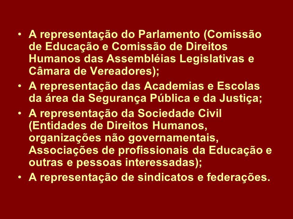 A representação do Parlamento (Comissão de Educação e Comissão de Direitos Humanos das Assembléias Legislativas e Câmara de Vereadores);