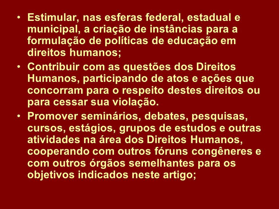 Estimular, nas esferas federal, estadual e municipal, a criação de instâncias para a formulação de políticas de educação em direitos humanos;