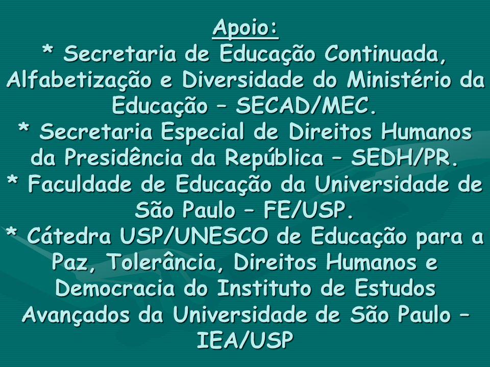 Apoio: * Secretaria de Educação Continuada, Alfabetização e Diversidade do Ministério da Educação – SECAD/MEC.