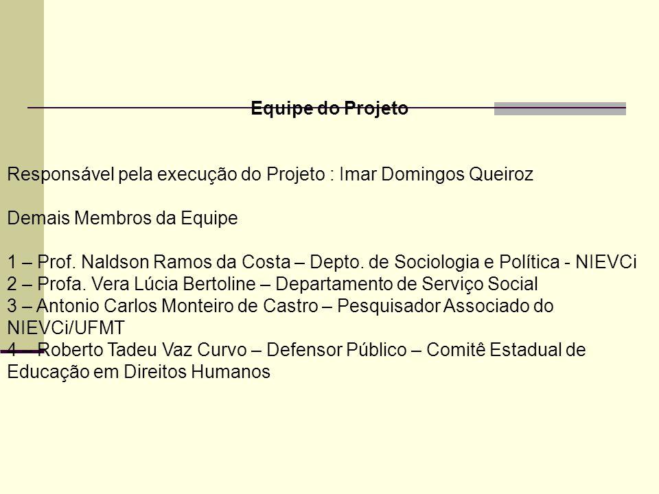 Equipe do Projeto Responsável pela execução do Projeto : Imar Domingos Queiroz. Demais Membros da Equipe.