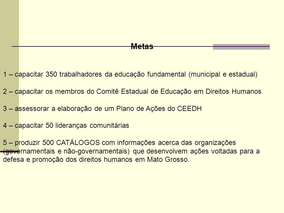 Metas 1 – capacitar 350 trabalhadores da educação fundamental (municipal e estadual)