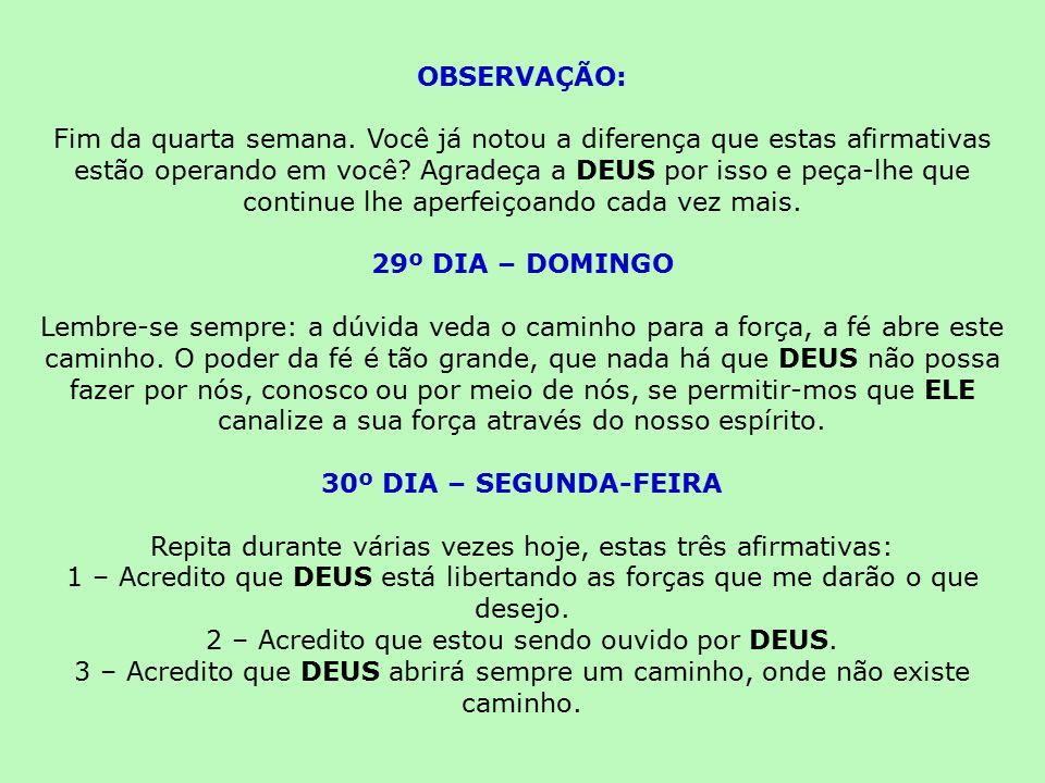 OBSERVAÇÃO: 29º DIA – DOMINGO 30º DIA – SEGUNDA-FEIRA