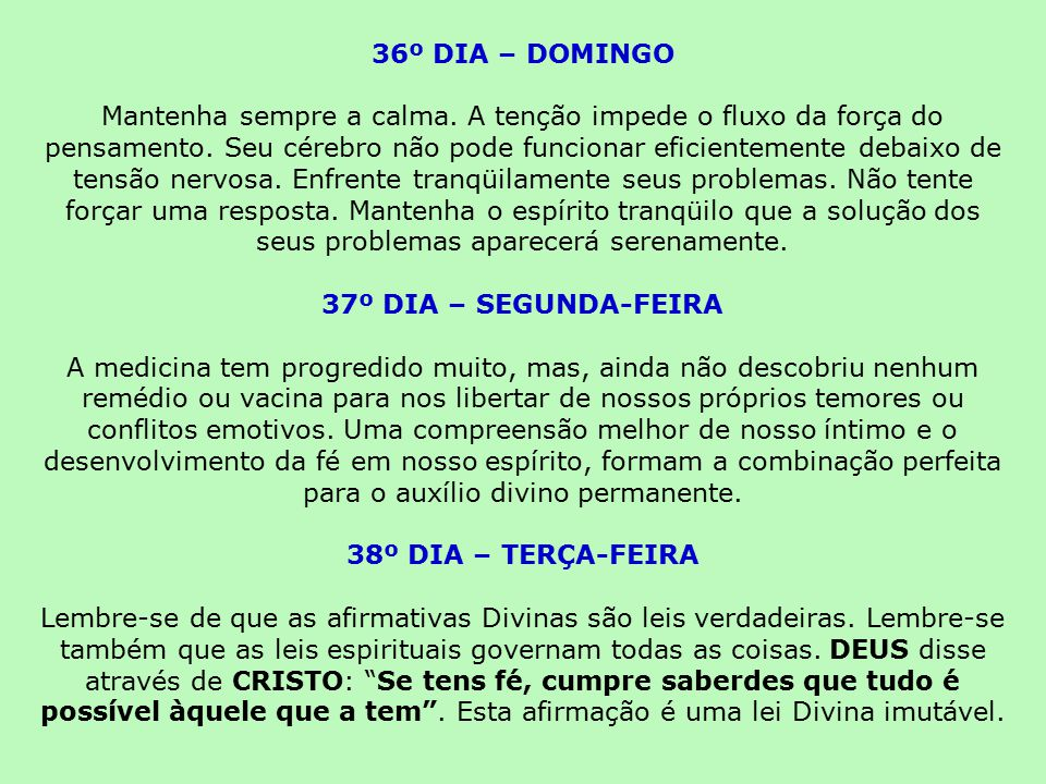 36º DIA – DOMINGO