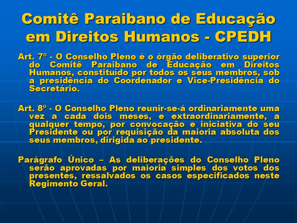 Comitê Paraibano de Educação em Direitos Humanos - CPEDH
