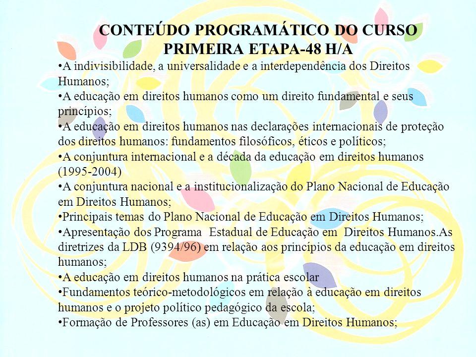 CONTEÚDO PROGRAMÁTICO DO CURSO