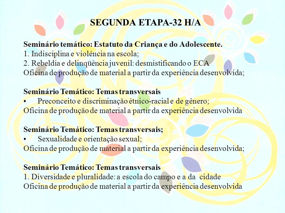 SEGUNDA ETAPA-32 H/ASeminário temático: Estatuto da Criança e do Adolescente. 1. Indisciplina e violência na escola;