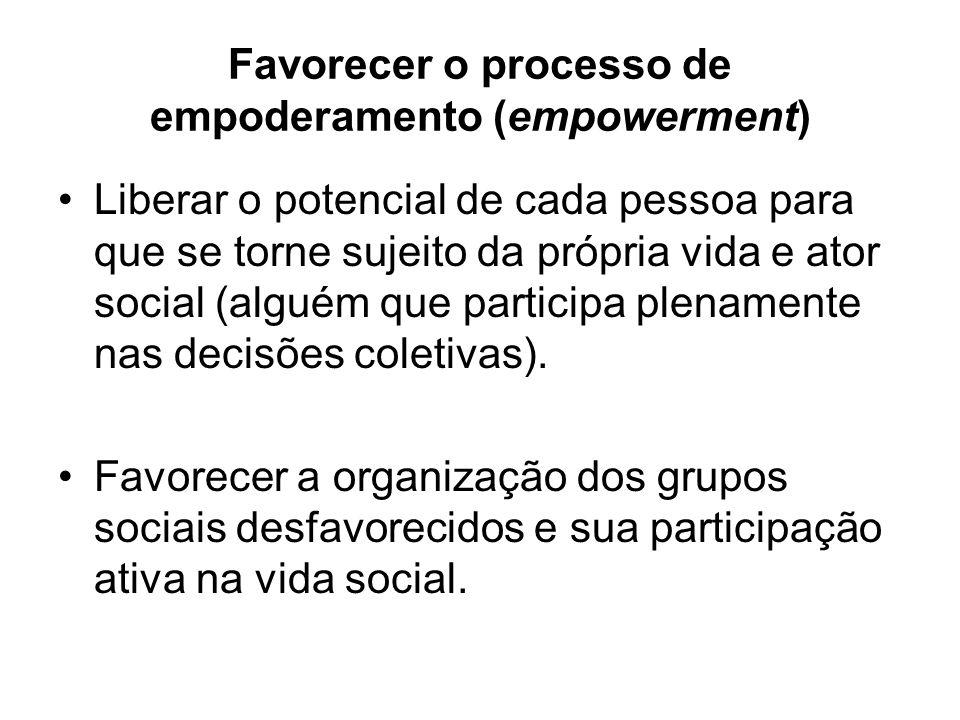 Favorecer o processo de empoderamento (empowerment)