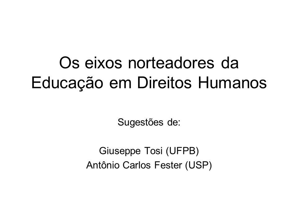 Os eixos norteadores da Educação em Direitos Humanos