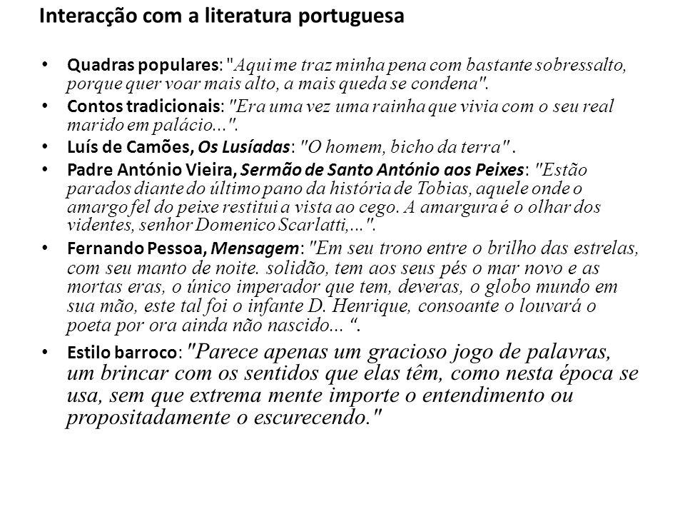 Interacção com a literatura portuguesa
