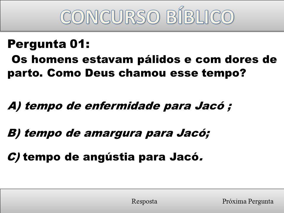 CONCURSO BÍBLICO Pergunta 01: Os homens estavam pálidos e com dores de parto. Como Deus chamou esse tempo