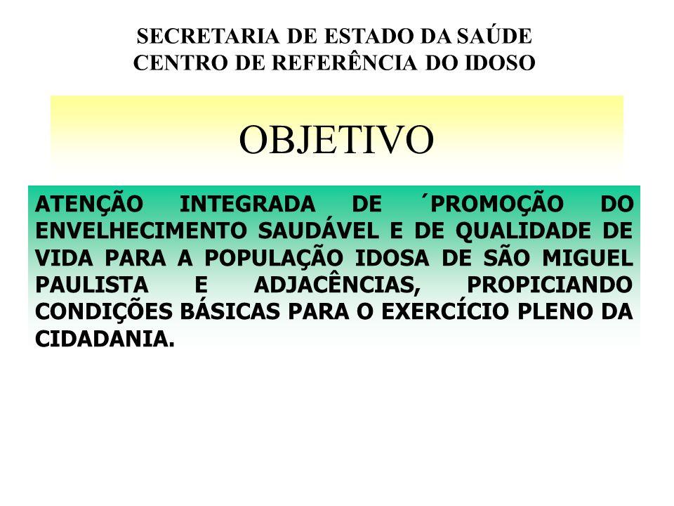 SECRETARIA DE ESTADO DA SAÚDE CENTRO DE REFERÊNCIA DO IDOSO
