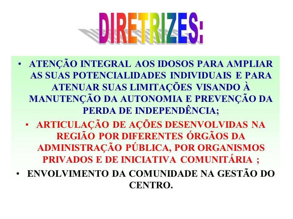 ENVOLVIMENTO DA COMUNIDADE NA GESTÃO DO CENTRO.