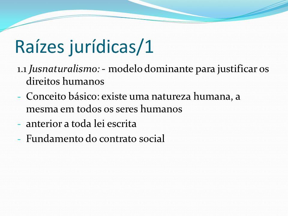 Raízes jurídicas/11.1 Jusnaturalismo: - modelo dominante para justificar os direitos humanos.