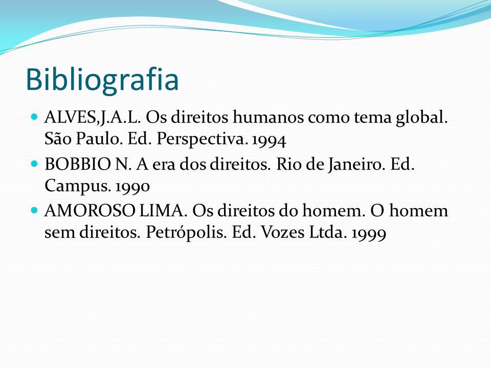 BibliografiaALVES,J.A.L. Os direitos humanos como tema global. São Paulo. Ed. Perspectiva. 1994.