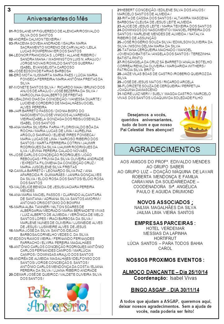 NOSSOS PROXIMOS EVENTOS : ALMOÇO DANÇANTE – Dia 25/10/14