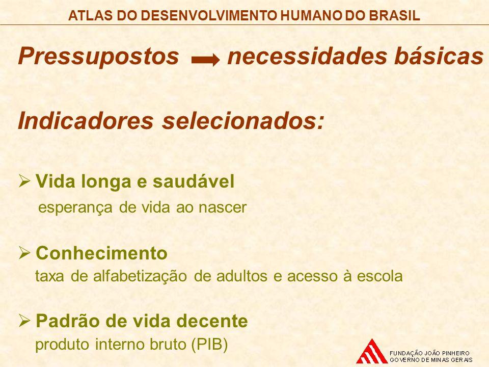 Pressupostos necessidades básicas Indicadores selecionados: