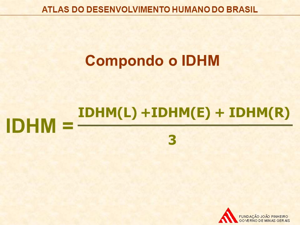 Compondo o IDHM IDHM = IDHM(L) +IDHM(E) + IDHM(R) 3