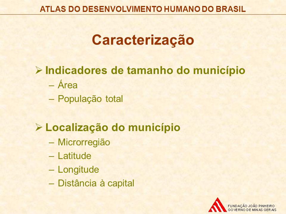 Caracterização Indicadores de tamanho do município