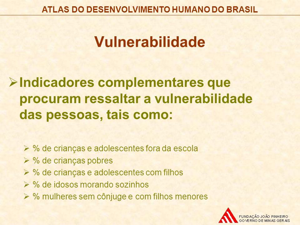 Vulnerabilidade Indicadores complementares que procuram ressaltar a vulnerabilidade das pessoas, tais como: