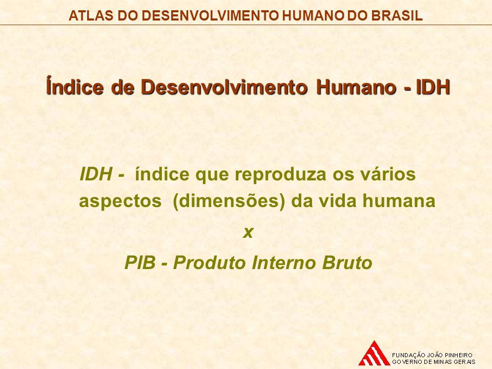 Índice de Desenvolvimento Humano - IDH PIB - Produto Interno Bruto