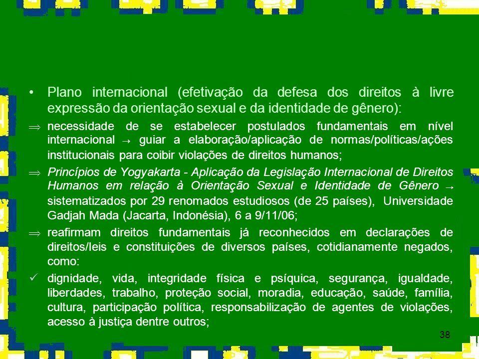 Plano internacional (efetivação da defesa dos direitos à livre expressão da orientação sexual e da identidade de gênero):