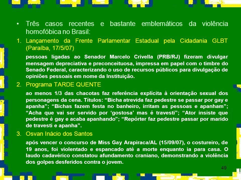 Três casos recentes e bastante emblemáticos da violência homofóbica no Brasil: