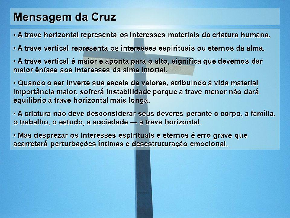 Mensagem da Cruz A trave horizontal representa os interesses materiais da criatura humana.