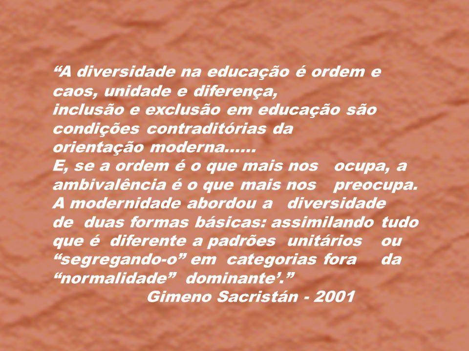 A diversidade na educação é ordem e caos, unidade e diferença,