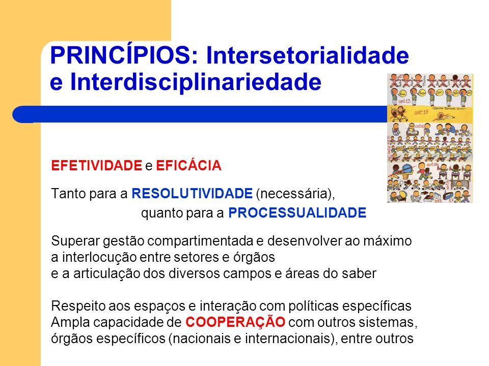 PRINCÍPIOS: Intersetorialidade e Interdisciplinariedade