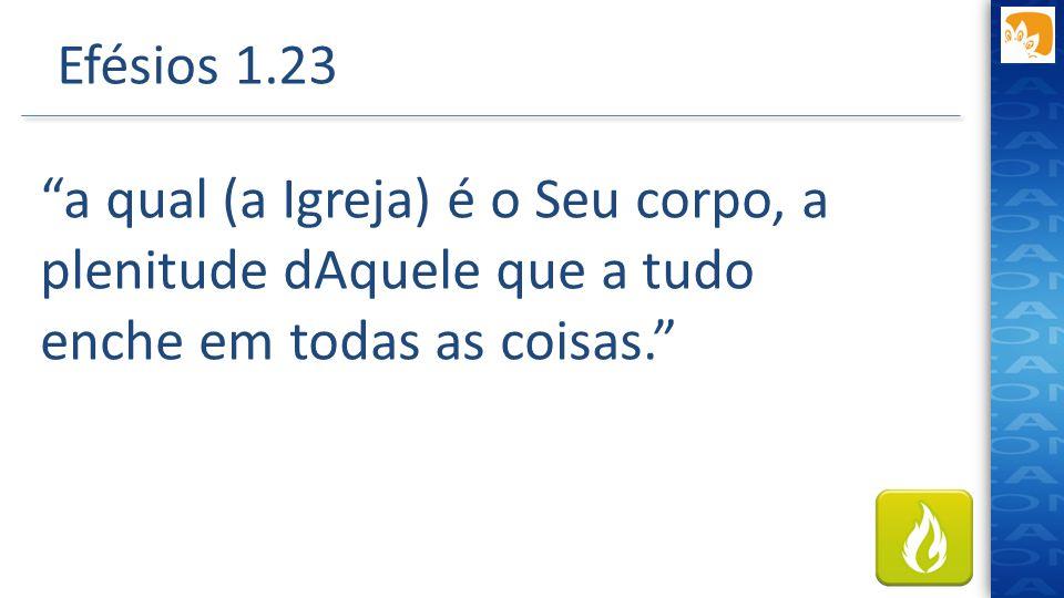 Efésios 1.23 a qual (a Igreja) é o Seu corpo, a plenitude dAquele que a tudo enche em todas as coisas.