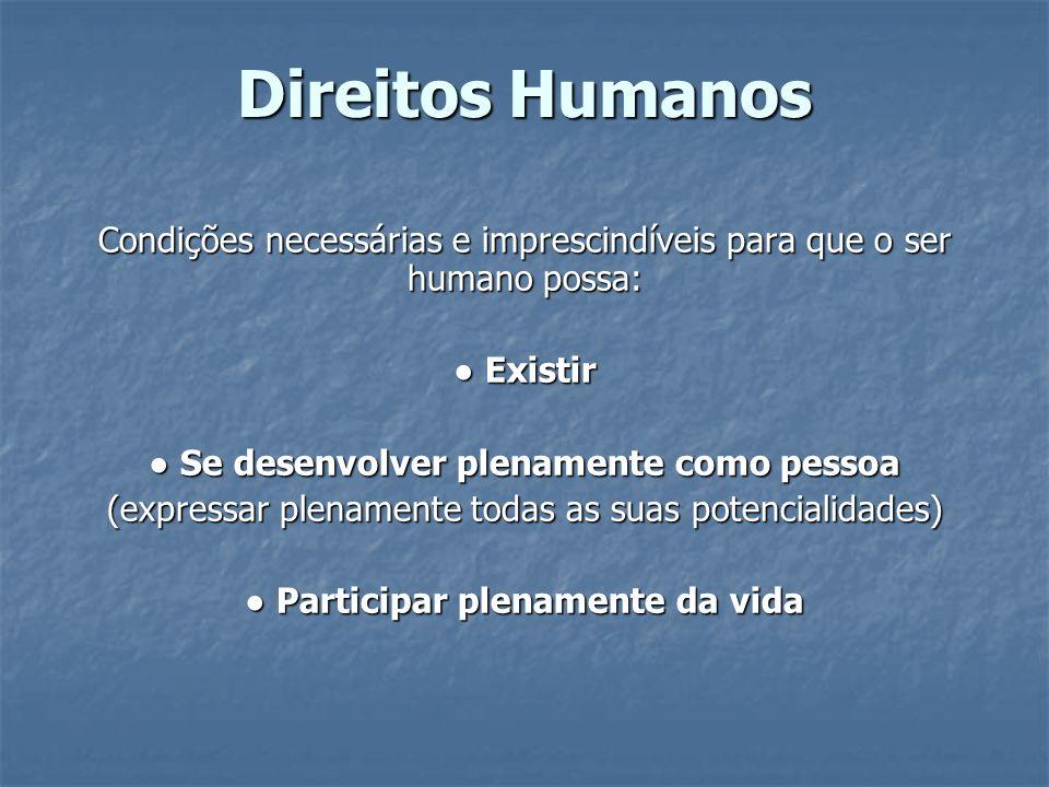 Direitos Humanos Condições necessárias e imprescindíveis para que o ser humano possa: ● Existir. ● Se desenvolver plenamente como pessoa.
