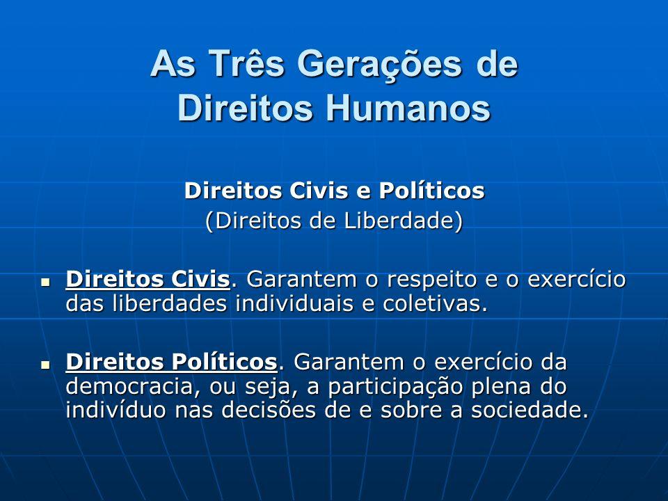 As Três Gerações de Direitos Humanos
