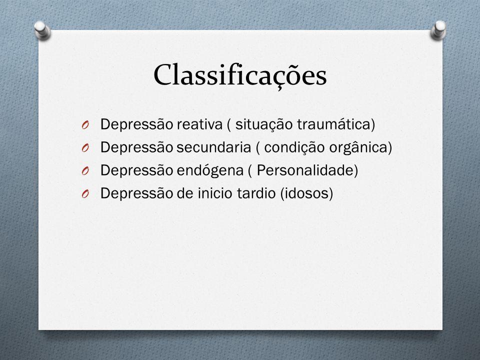 Classificações Depressão reativa ( situação traumática)