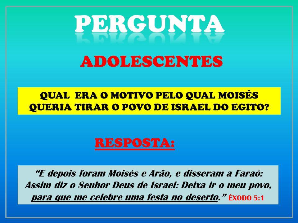PERGUNTA ADOLESCENTES RESPOSTA: