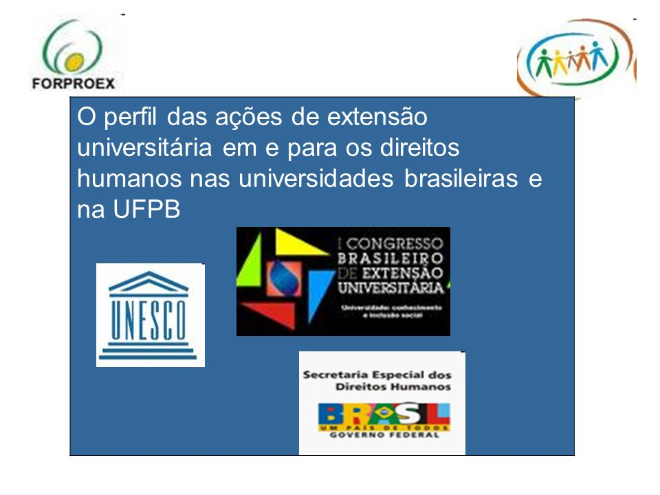 O perfil das ações de extensão universitária em e para os direitos humanos nas universidades brasileiras e na UFPB
