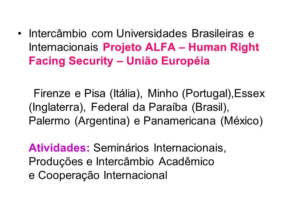 Intercâmbio com Universidades Brasileiras e Internacionais Projeto ALFA – Human Right Facing Security – União Européia
