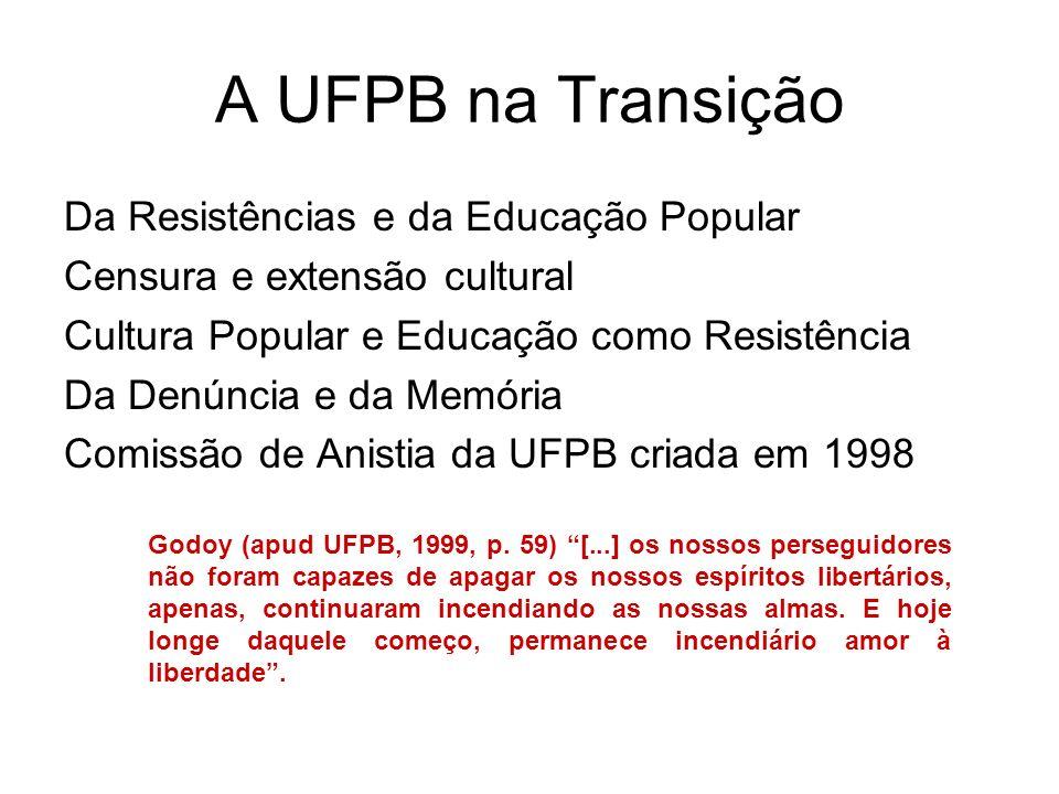 A UFPB na Transição Da Resistências e da Educação Popular