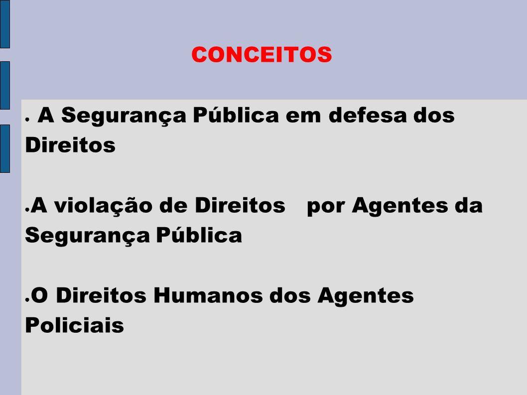 CONCEITOS A Segurança Pública em defesa dos Direitos. A violação de Direitos por Agentes da Segurança Pública.