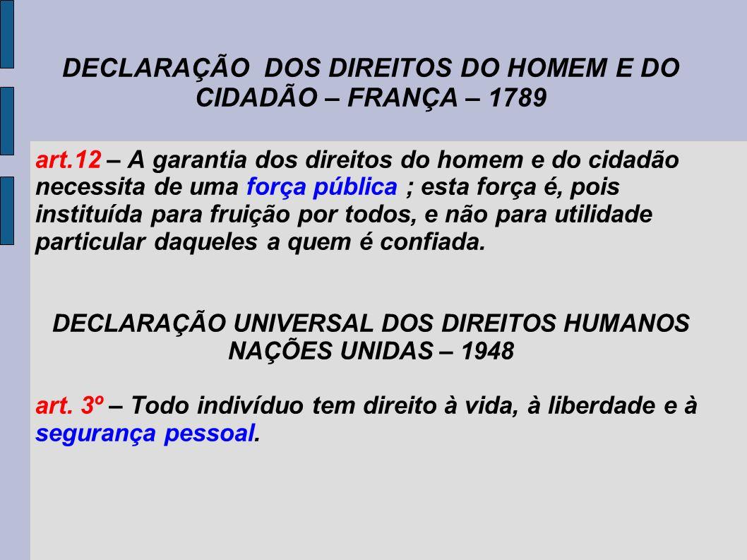 DECLARAÇÃO DOS DIREITOS DO HOMEM E DO CIDADÃO – FRANÇA – 1789