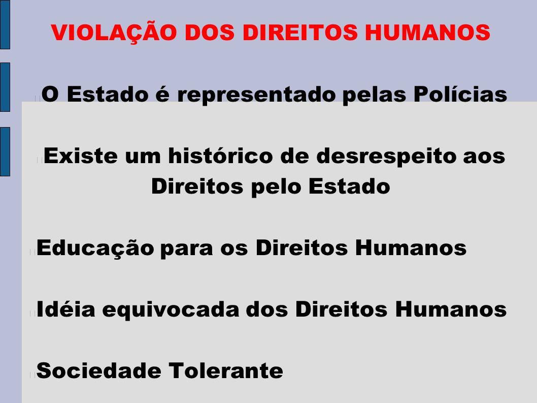 VIOLAÇÃO DOS DIREITOS HUMANOS O Estado é representado pelas Polícias