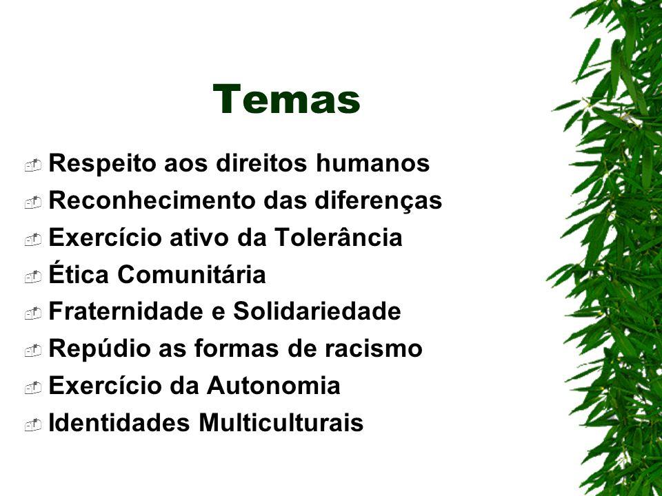 Temas Respeito aos direitos humanos Reconhecimento das diferenças