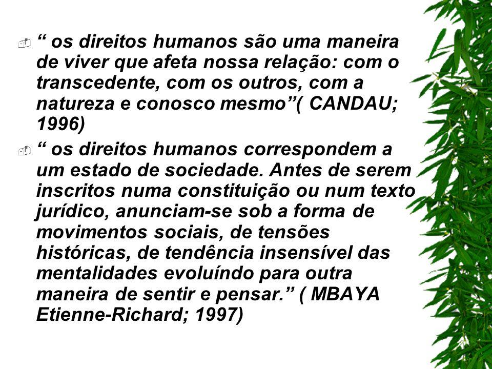 os direitos humanos são uma maneira de viver que afeta nossa relação: com o transcedente, com os outros, com a natureza e conosco mesmo ( CANDAU; 1996)