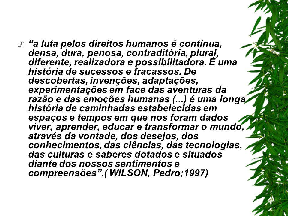 a luta pelos direitos humanos é contínua, densa, dura, penosa, contraditória, plural, diferente, realizadora e possibilitadora.